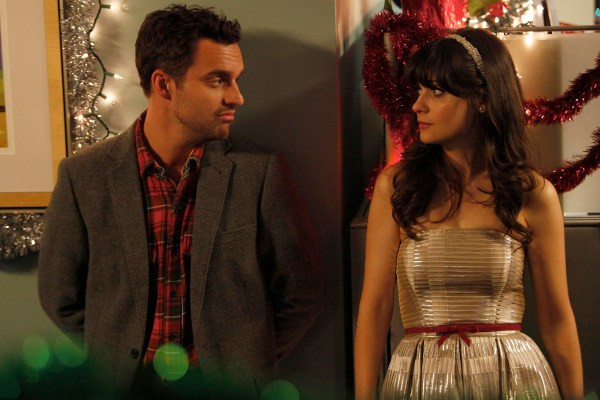 Promotional photo of Jake Johnson and Zooey Deschanel in New Girl. Photo credit: Greg Gayne/FOX.