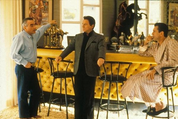Scorsese directs Pesci and De Niro on set.