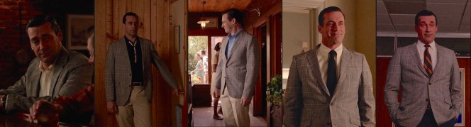 Don Draper shows the versatility of a colorful plaid sport jacket across the show's final seasons.