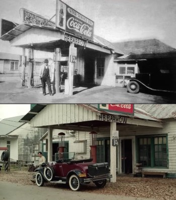 The real Star Service Station owned by Henry Barrow on Eagle Ford Road (above) and The Highwaymen's recreation of it (below).