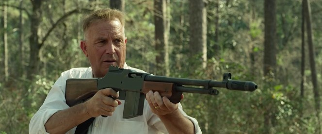 "Gault: ""What the hell is that?"" Hamer: ""It's a Colt Monitor machine-rifle. Fires a 20-round volley at 3,000 feet per second. Our boy Clyde, he prefers a Browning Automatic, .30 cal. Pretty much the same gun, except now the little shit uses a welded over-and-under clip that can fire 40."" Gault: ""Well, he ain't met Old Lucky."" Hamer: ""Shit, I ain't that lucky."""