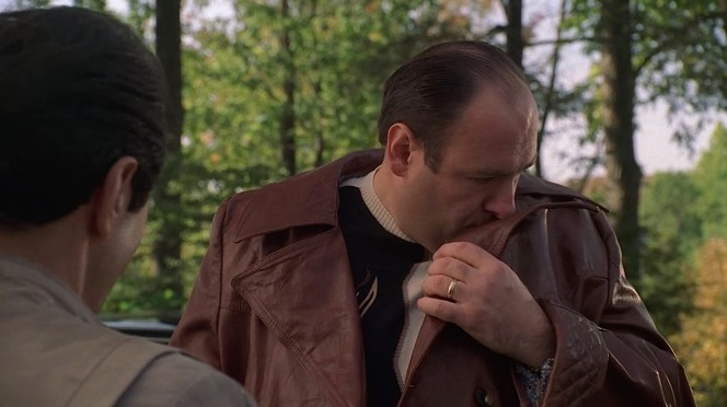 Tony takes a whiff of that fine Corinthian leather.