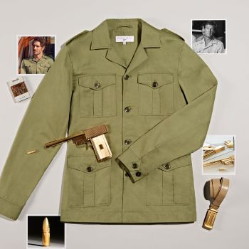 """The official Orlebar Brown """"Bond Safari Jacket"""", accompanied by atmospheric props and photos."""