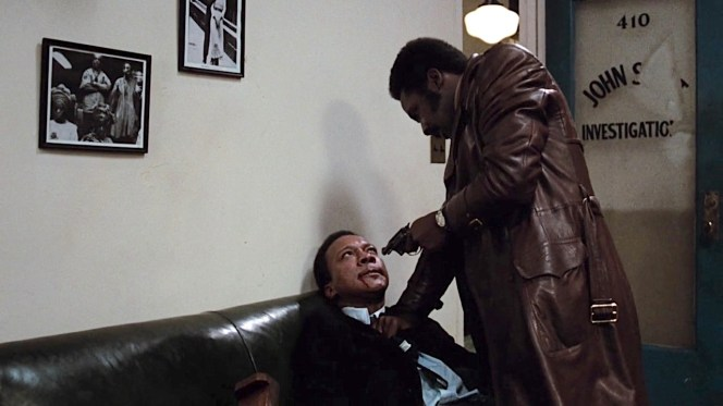 Shaft confronts a gangster who broke into his office.
