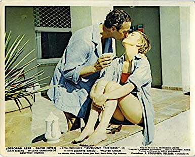 A lobby card from the era depicts Raymond and Cécile's morning greeting with Niven dressed in a short toweling robe rather than a chambray shirt tied at the waist.