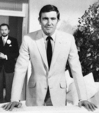 George Lazenby as James Bond in On Her Majesty's Secret Service (1969). Photo sourced from Thunderballs archive.