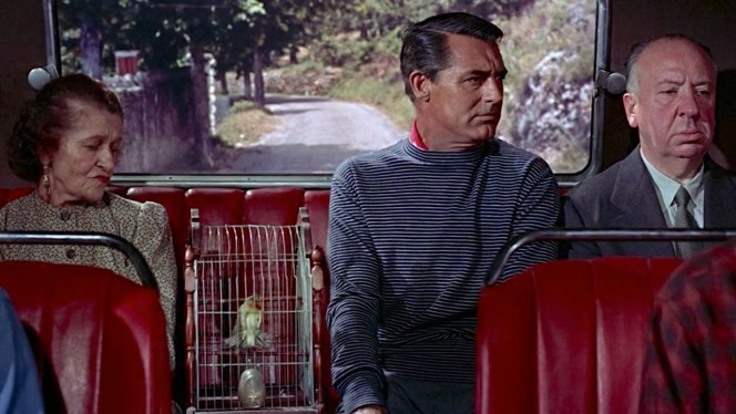 Alfred Hitchcock's signature cameo comes early in To Catch a Thief, portraying a bored passenger on the bus that spirits John Robie (Cary Grant) from his quiet countryside villa to the bustling Cannes.