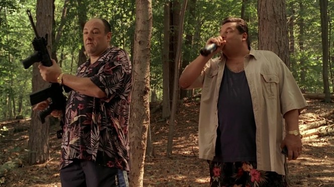 Kudos to Tony and Bobby for embracing floral prints, Tony with his shirt and Bobby with his swim trunks that do not receive nearly enough screen time.