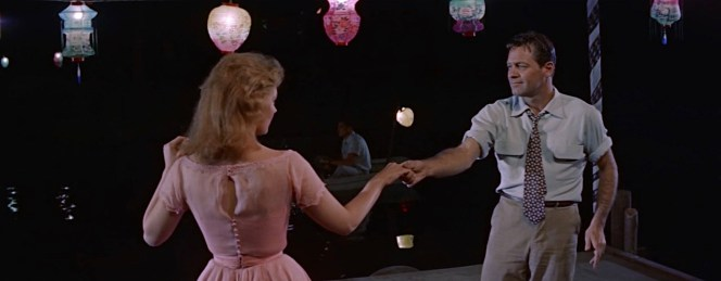 "The famous ""Moonglow"" dance, for which William Holden prepared by practicing with choreographer Miriam Nelson in Kansas roadhouses... and getting considerably drunk before filming."