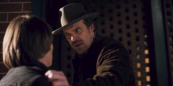 """In many ways, Hopper likes to hide and he doesn't want people to see the pain that he experiences every day and doesn't want people to see what he's feeling. So he has this big wide brim, a 3 inch rim that he can pull down and hide behind."" David Harbour explained to GoSeeTalk.com."