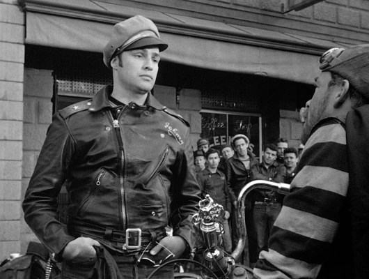 Marlon Brando's outfit in The Wild One may have become legendary, but⁠—according to IMDB⁠—San Francisco Hells Angels chapter president Frank Sadilek bought the striped shirt that Lee Marvin wore as Chino and wore it for a meeting with police officials.