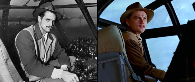 The real Howard Hughes in the cockpit of the Spruce Goose in 1947 (left) and Leonardo DiCaprio recreating the moment, expertly outfitted by costume designer Sandy Powell (right).
