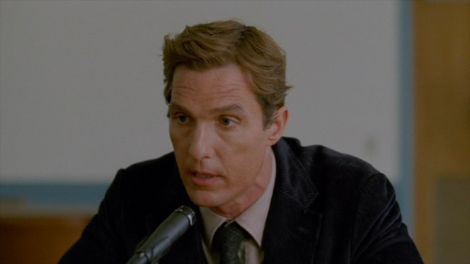 "Cohle accounts for his and Hart's gunfight with Reggie Ledoux in ""The Secret Fate of All Life"" (Episode 1.05)."