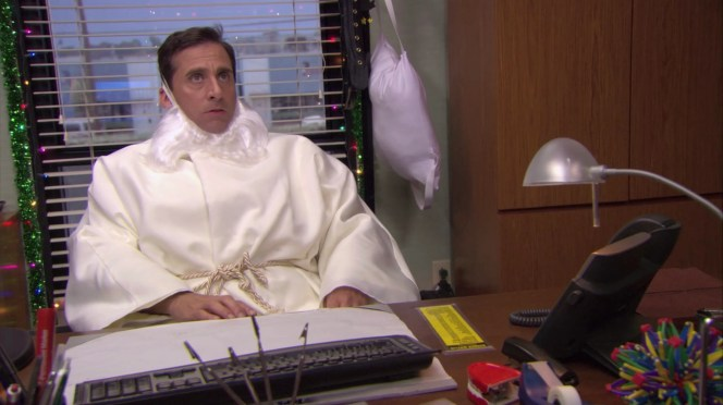 "Michael is still dressed as ""Hurt, Petulant Jesus"" when he makes the call to Dunder Mifflin CFO David Wallace and learns the fate of the company."