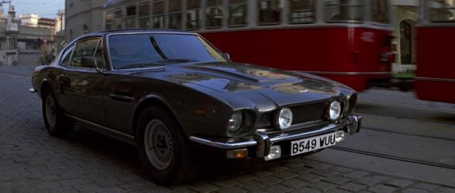 Bond's parked Aston Martin V8 on the streets of Bratislava.