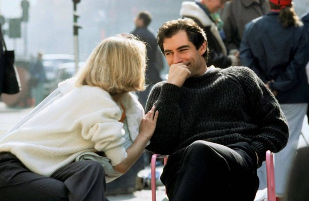 Dalton shares a laugh behind the scenes with co-star Maryam d'Abo. (Source: Thunderballs)
