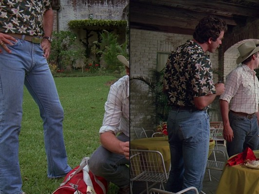 "The first time we see Magnum's Surface Warfare belt buckle is with this green Star Orchid shirt in the second season premiere, ""Billy Joe Bob"" (Episode 2.01). Note that Magnum is also back to wearing his team ring on his right hand, as he would through the duration of the series after the first season."
