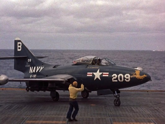 The Grumman F9F Panther received plenty of screen time in The Bridges at Toko-Ri.