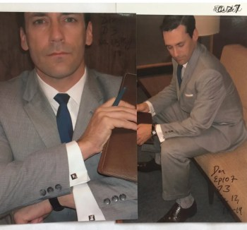 "Though the photo is labeled ""Ep. 107"" and Don clearly wears the same shoes and socks from ""Red in the Face"" (Episode 1.07), his tie is clearly the blue tie from ""5G"" (Episode 1.05)."