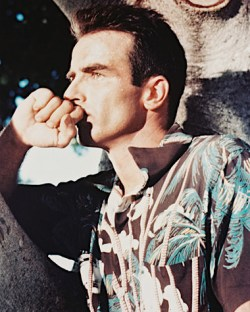 A color portrait of Montgomery Clift on the From Here to Eternity set proves the colors in his third and final Aloha shirt.