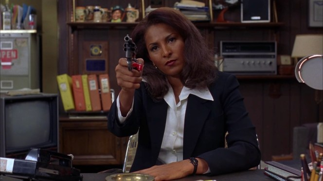"Jackie practices drawing the Detective Special to ensure that she'll have an advantage over Ordell, if needed. As Amy the saleswoman had predicted, Jackie Brown is indisputably ""the badass in the room."""
