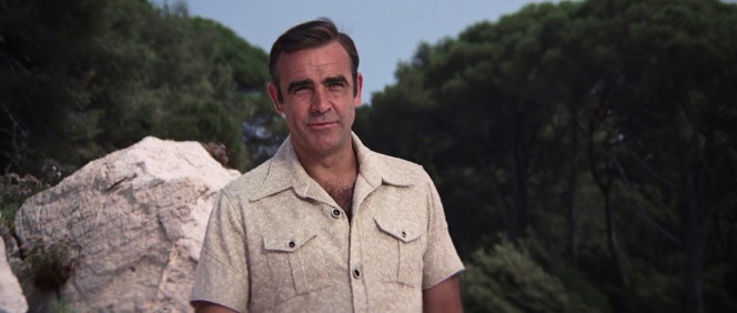 Sean Connery sports a '70s-styled terry shirt in the Diamonds Are Forever (1971) prologue.