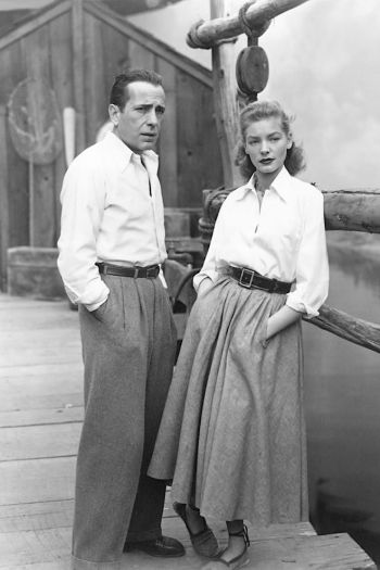 Humphrey Bogart and Lauren Bacall on the set of Key Largo (1948)