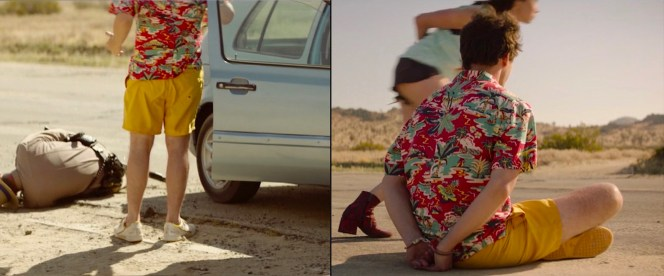 Nyles' ASOS shorts and Adidas shoes get some screen time when he and Sarah run into some roadside mishap.
