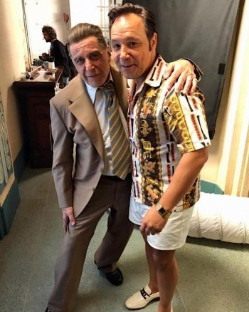 Al Pacino and Stephen Graham appeared to have gotten along much better than Jimmy Hoffa and Tony Pro as seen here on the set of The Irishman (2019) (Source: The Sun)
