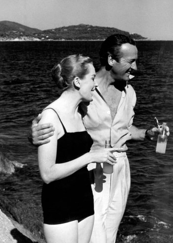 Deborah Kerr and David Niven on the set of Bonjour Tristesse.