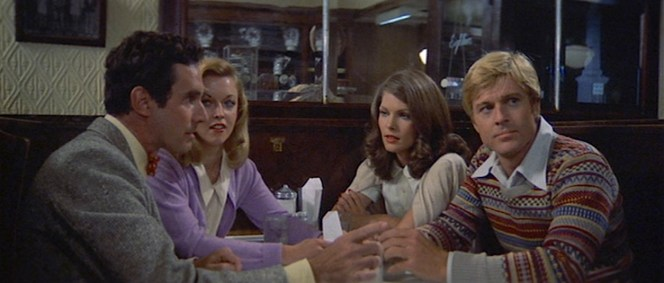J.J. (Bradford Dillman), Pony (Sally Kirkland), and Carol Ann (Lois Chiles) round out Hubbell's core group of friends. Both women would later co-star with Redford in their subsequent films; Kirkland would appear as his date Crystal in The Sting (1973) and Chiles would play Jordan Baker in The Great Gatsby (1974).