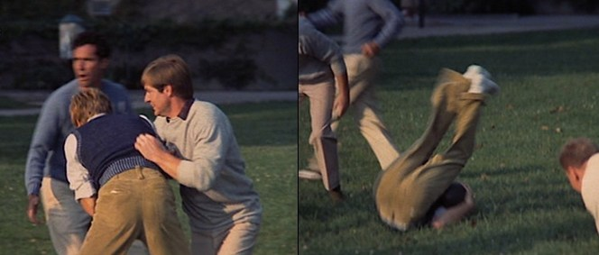 Hubbell takes a tumble in his corduroy trousers during a casual game of football.
