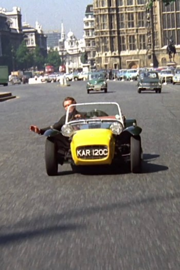 """McGoohan motors his Lotus Seven through London in the opening credits of The Prisoner, first seen in """"Arrival""""."""