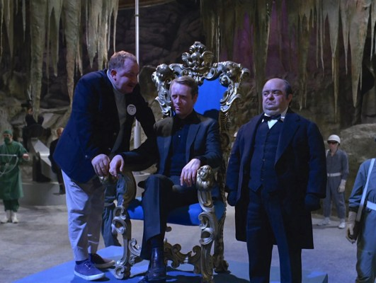 """Number 6 and his unlikely allies, the final Number 2 (Leo McKern) and the silent butler (Angelo Muscat) in """"Fall Out""""."""