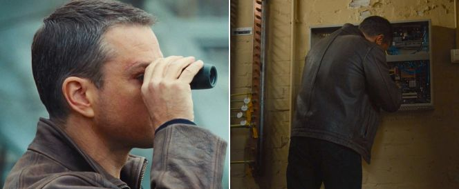 Jason Bourne illustrates how well-suited his rugged leather jacket is for everyday spyjinks, whether conducting surveillance or overriding a security system.