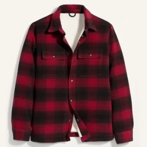 Cozy Sherpa-Lined Plaid Wool-Blend Shirt Jacket from Old Navy