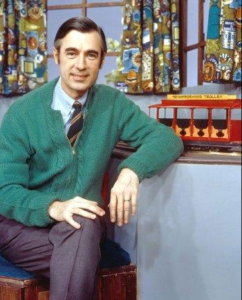 Fred Rogers on the Mister Rogers' Neighborhood set, circa 1975
