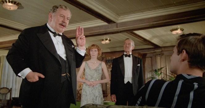 Peter Ustinov, Mia Farrow, David Niven, and Simon MacCorkindale in Death on the Nile (1978)