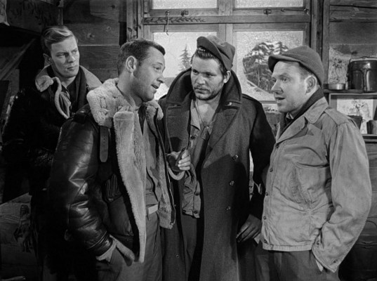 Peter Graves, William Holden, Neville Brand, and Richard Erdman in Stalag 17 (1953)