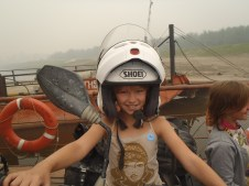 Aldan river ferry biker!