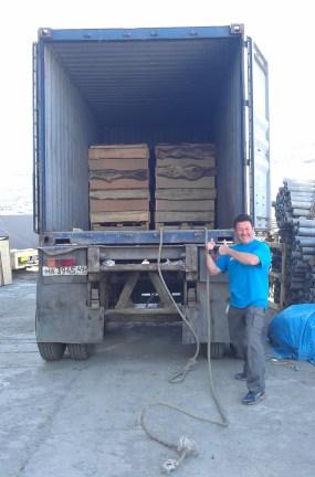unloading the bikes in Magadan