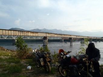The Vitim bridge from the campsite.