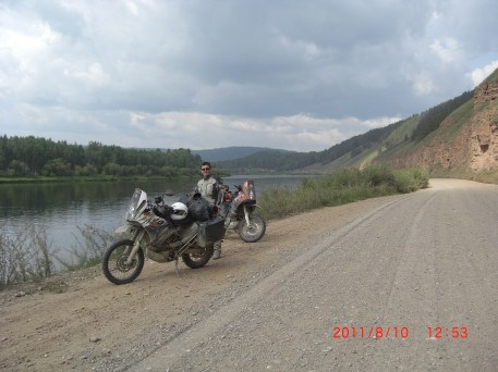 Lena river road on the way to Irkutsk.