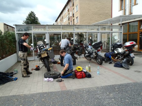 Working on bikes outside hotel in Bardejov.