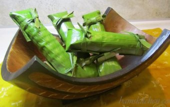 Tropical Banana Leaf Wrapped Coconut fish and sumans