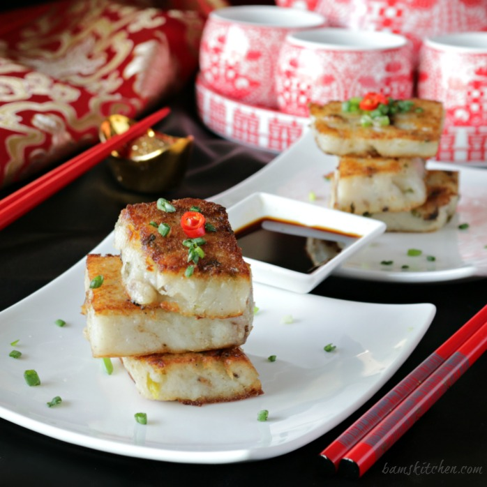 Chinese Vegan Radish Cakes / http://bamskitchen.com