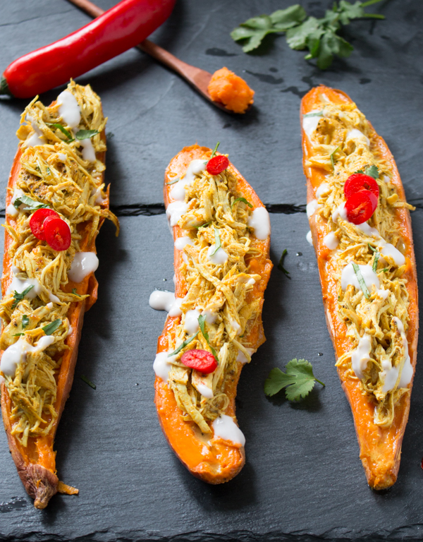 Pull Apart Tandoori Chicken Sweet Potato Skins / http://bamskitchen.com