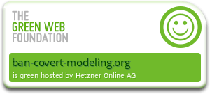 A green graphic stating that ban-covert-modeling.org uses electricity from renewable sources only