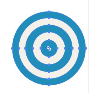 形状オプションで幅、高さが0mm、半径を10mmに設定したらぴったりと同心円に背景が塗られた