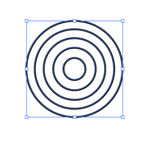 分割線数が4つの同心円が完成